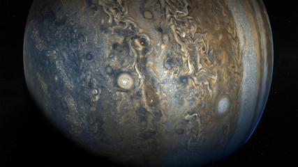 View of Jupiter, the fifth planet of the Solar System, with stars . Elements of this image furnished by NASA. Science fiction wallpaper.
