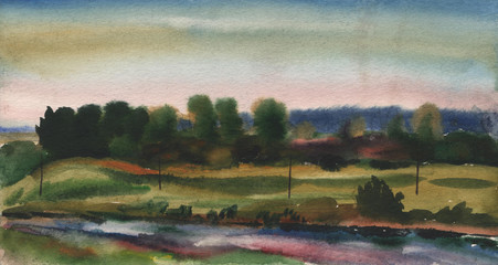 Watercolor painting, landscape, Sunset. River, lake, forest pond on the background of the evening sky.