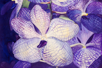 Painting original realistic purple,blue color of orchid flowers