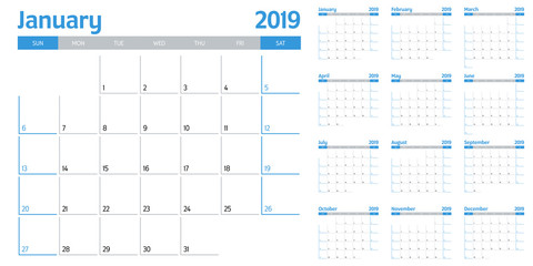 Calendar planner 2019 template vector illustration all 12 months week starts on Sunday and indicate weekends on Saturday and Sunday Fototapete