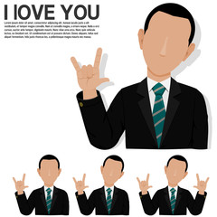 Businessman is presenting hand sign , love you