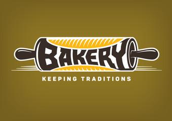 bakery emblem. Vector rolling pin