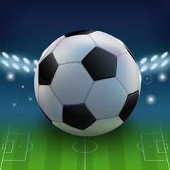 Soccer or football banner with ball. Football background