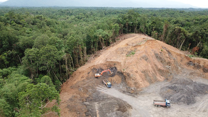 Deforestation. Logging of rainforest in Borneo, Malaysia