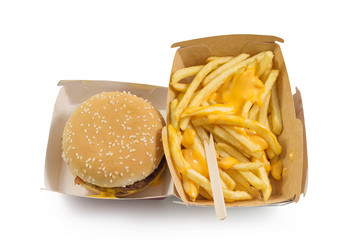Tasty burger and french fries with yellow cheese, fast food and unhealthy eating concept, fast food snacks isolated in white background top view with clipping path.