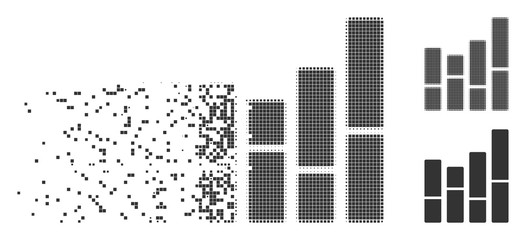 Grey vector bar chart icon in dissolved, dotted halftone and undamaged whole versions. Disintegration effect uses square particles. Fragments are grouped into dissipated bar chart form.