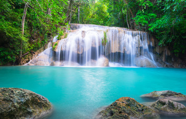 Wall Mural - Beautiful waterfall in tropical forest