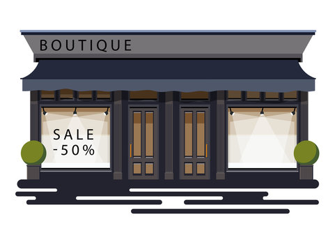 Boutique facade. Illustration of a boutique in a flat style. Vector illustration Eps10 file