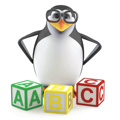 Vector 3d Academic penguin with counting blocks