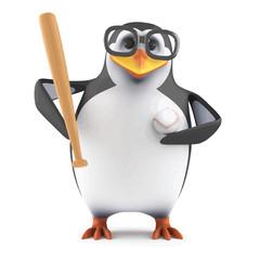 Vector 3d Academic penguin plays baseball