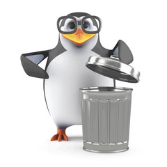 Vector 3d Academic penguin takes out the trash
