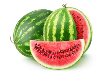 Isolated fruits. Two watermelons isolated on white background with clipping path
