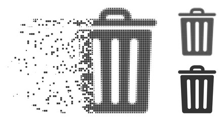 Grey vector dustbin icon in fractured, dotted halftone and undamaged solid variants. Disintegration effect involves rectangular dots. Elements are combined into dissipated dustbin icon.