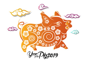 Chinese New Year greeting card. 2019 year of pig in Chinese calendar