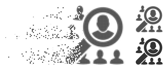 Grey vector find user icon in fractured, dotted halftone and undamaged entire variants. Disappearing effect uses rectangle particles. Fragments are composed into dissipated find user shape.