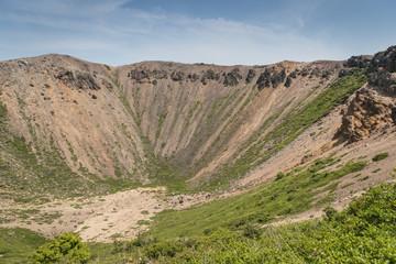 Azuma-Kofuji peak 1707 meters ,Mount Azuma is a roughly 2000 meter tall, volcanic mountain range northeast of Mount Bandai along the border of Fukushima and Yamagata Prefectures