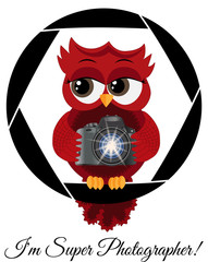 A beautiful cartoon red owl with a camera sits on the camera's diaphragm. Concept photography, vocations, photo business