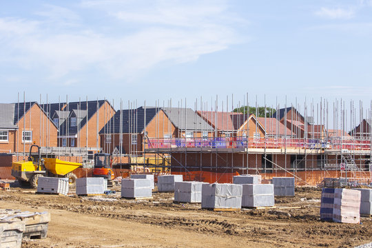 New build houses building construction site, Cheshire, England, UK