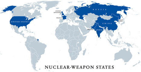 Nuclear-weapon states, political map. Eight sovereign states that have successfully detonated nuclear weapons, shown in blue color. English labeling. Illustration on white background. Vector.