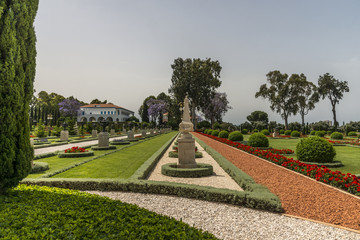 Acre, Israel - May 10, 2018 : Bahai Gardens in Acre, Israel