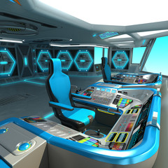 A futuristic ship-cutting project. Command bridge of a spacecraft. Control panel and pallet management units.