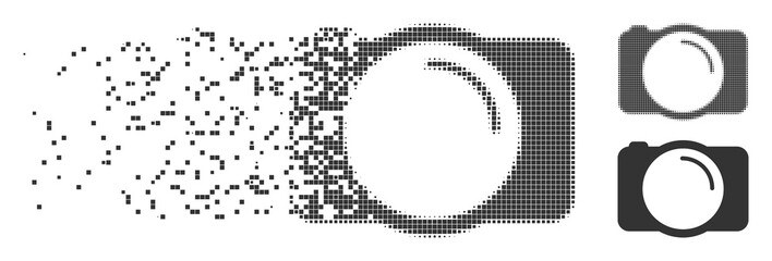 Gray vector photo camera icon in dispersed, pixelated halftone and undamaged whole versions. Disappearing effect involves rectangular particles. Cells are combined into dispersed photo camera form.