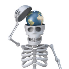 Vector 3d Skeleton has a globe of the Earth in his skull