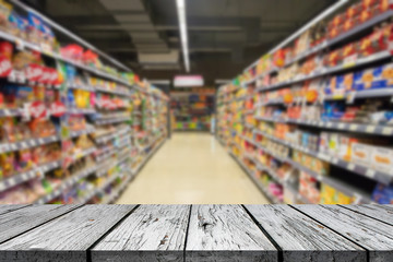 Wood floor and Supermarket blur background