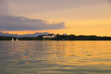 Chiemsee, Sonnenuntergang, Herreninsel