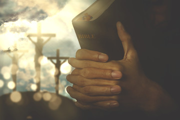 Christian person with bible