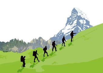 Bergsteiger vor Bergkulisse, illustration