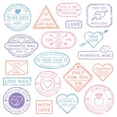 Vintage love letter postcard, Valentines Day postmarks. Stamps with hearts or mail seal for wedding postcards. Travel postal stamp vector set