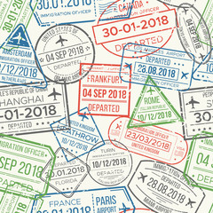 Travel visa airport stamps seamless pattern. Traveling document, vise or passport rubber stamp patterns vector background