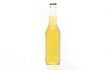 Single clear bottle of beer