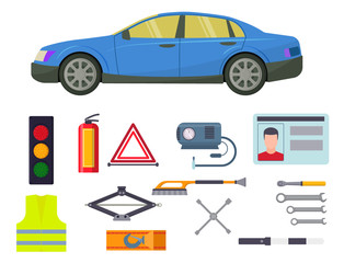 Auto transport vector motorist equipment transportation service car driver tools high detailed repair service illustration.