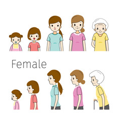 The Life Cycle Of Woman. Generations And Stages Of Human Body Growth. Different Ages, Baby, Child, teenager, adult, Old Person. Outline, Side View, Age, People, Development, Lifestyle