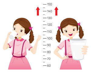 Girl Drinking Milk For Health And Taller. Girl Measuring Her Height, Tall, Healthy, Care, People, Lifestyle