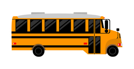 school bus with darkened Windows, side view.isolated image