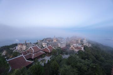 Bana Hills, Danang Vietnam - 22 May 2018: Landscape of Castles is covered with fog at Bana Hills,Da Nang, Vietnam