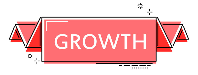 red flat line banner growth