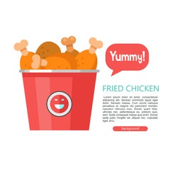 Fried chicken. Delicious fast food. Vector illustration in flat style.