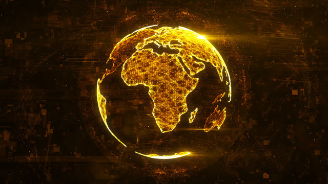 Digital abstract globe made of plexus glowing lines. Business technology structure of the orange lines, dots and particles. Africa continent. 3d rendering
