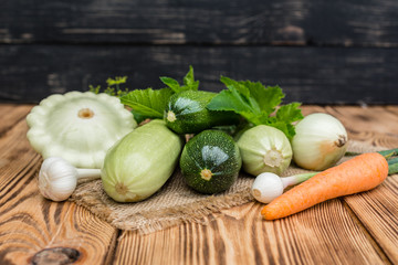 The ripened vegetable marrows, zucchini and bush pumpkins are prepared as ingredients for preparation of healthy food. It can be used as a background