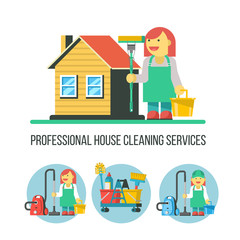Cleaning service. Vector illustration.