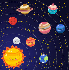 Set of vector doodle cartoon icons planets of solar system. Comic colored funny characters. Children education. Wallpaper, background, symbols, template for web design, greeting card, cover, poster