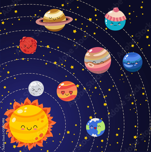 Set Of Vector Doodle Cartoon Icons Planets Of Solar System Comic