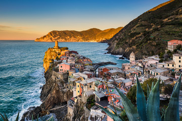 Vernazza during sunrise in Cinque Terre, Italy