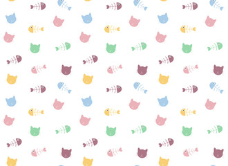 cat and fishbone pattern background