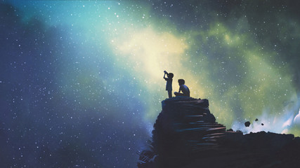 Zelfklevend Fotobehang Grandfailure night scene of two brothers outdoors, llittle boy looking through a telescope at stars in the sky, digital art style, illustration painting