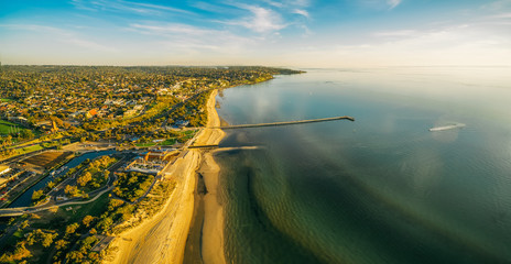 Aerial panorama of Frankston waterfront at sunset